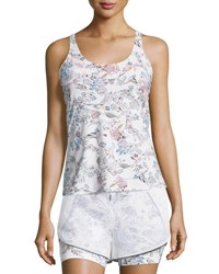 Lucas Hugh Inca Cutout Back Fitted Tank White Peru Print