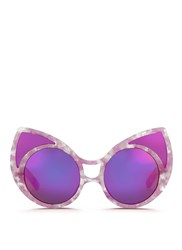 Linda Farrow X Khaleda Rajab Fahad Almarzouq Polarised Lens Cat Eye Mask Sunglasses Purple Animal Print
