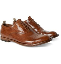 Officine Creative Anatomia Glossed Leather Oxford Shoes Brown