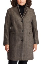 Lauren Ralph Lauren Plus Size Herringbone Wool Blend Reefer Coat Sand Black