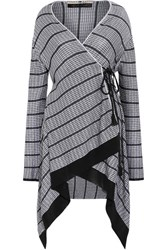 Roland Mouret Doncaster Asymmetric Metallic Stretch Knit Cardigan Silver
