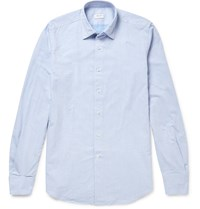 Incotex Kurt Slim Fit Cotton Dobby Shirt Blue