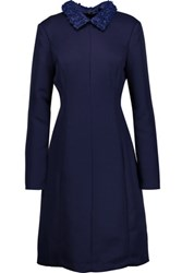 Mikael Aghal Faux Leather Trimmed Crepe Dress Royal Blue