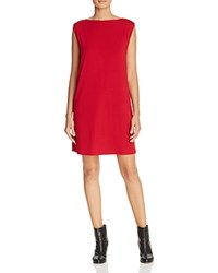 Eileen Fisher Boat Neck Knit Shift Dress China Red
