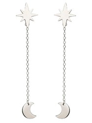 Chavin Silver Star And Moon Dangle Earring Silver