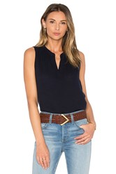 Three Dots Shania Henley Tank Navy