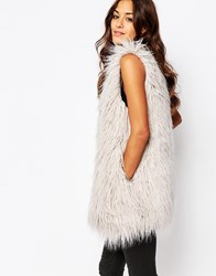 Religion Longline Faux Fur Gilet In Shaggy Longhair Grey