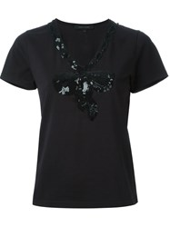 Marc Jacobs Sequinned Bow T Shirt Black