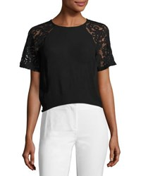 French Connection Taza Semisheer Lace Top Black