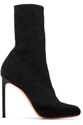 Francesco Russo Open Knit Boots Black