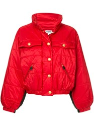 Chanel Vintage Standing Collar Puffy Jacket Red