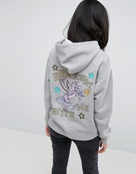 Asos Hoodie With Customised Embroidery And Badges Grey