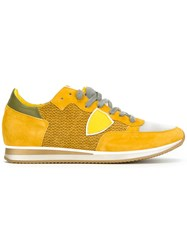 Philippe Model Panelled Lace Up Sneakers Yellow Orange