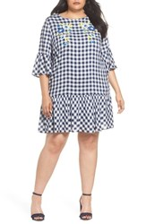 Eci Plus Size Women's Embroidered Check Shift Dress Navy White