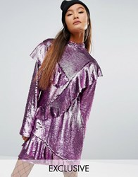 Mad But Magic Sequin Dress With Frills Pink