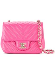 Chanel Vintage V Stitch Shoulder Bag Pink