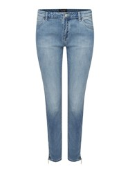 Armani Jeans J50 Mid Rise Cropped Skinny Jean With Zips Denim Light Wash