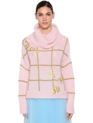 Delpozo Embroidered Mohair Blend Sweater Pink