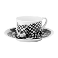 Fornasetti High Fidelity Teacup And Saucer Quadretato