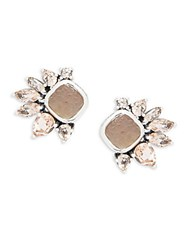 Stephen Dweck Mother Of Pearl Smokey Quartz Pink Quartz And Sterling Silver Stud Earrings White