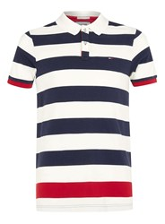 Topman Hilfiger Denim Navy And Red Stripe Polo Neck Shirt Blue