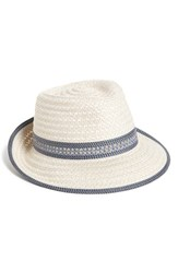 Women's Eric Javits Fedora White Cream Blue Tweed