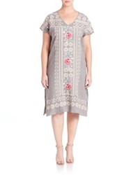 Johnny Was Plus Size Tara Linen Tunic Dress Gravel
