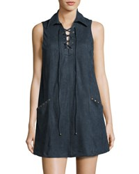 Moon River Lace Up Faux Suede Dress Teal