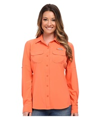 Columbia Ultimate Chill Ii L S Shirt Coral Flame Women's Long Sleeve Button Up Orange