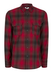 Topman Red And Black Faded Check Casual Shirt