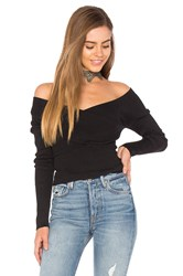 525 America Rib Double V Criss Cross Sweater Black