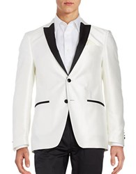 Tallia Orange Tonal Diamond Weave Dinner Jacket White