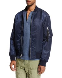 Rag And Bone Manston Satin Bomber Jacket Navy