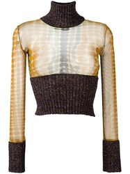Jean Paul Gaultier Vintage Cropped Two Tone Jumper Brown