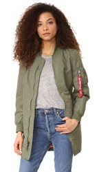 One By Alpha Industries Long Bomber Jacket Sage