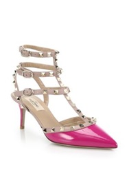 Valentino Rockstud Leather Trimmed Patent Leather Pumps Fuschia