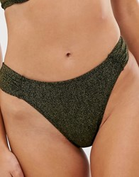 Dorina Brazilian Bikini Bottom In Metallic Black