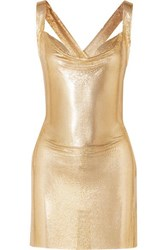Fannie Schiavoni Hailey Open Back Draped Chainmail Mini Dress Gold