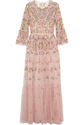 Needle And Thread Dragonfly Embellished Embroidered Tulle Maxi Dress Blush