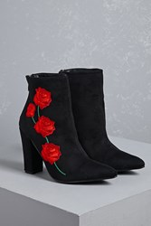 Forever 21 Faux Suede Floral Boots