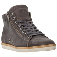 Dune Sugar Snap Leather Hi Top Trainers Grey