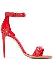Alexander Mcqueen Hobnail Sandals Women Leather 37.5 Red