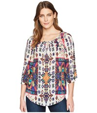 Tribal Printed 3 4 Sleeve Blouse With Beading Caribbean Blue