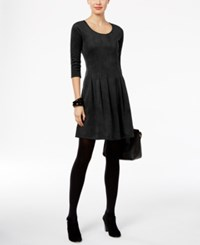 Ny Collection Petite Faux Suede Fit And Flare Dress Black
