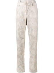 Y Project Snakeskin Print Trousers Nude Neutrals