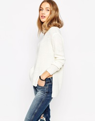 Asos Ultimate Chunky Jumper With V Neck And Side Splits Cream