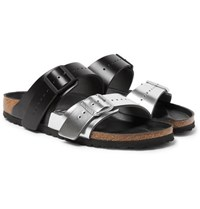 dde13fbf5fc Rick Owens Birkenstock Arizona Two Tone Leather Sandals Silver
