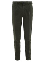 Incotex Checked Cotton Blend Slim Fit Trousers Green