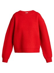 Acne Studios Oversized Wool Knit Sweater Red