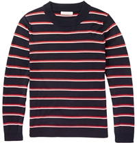 Sandro Striped Silk And Cotton Blend Sweater Blue